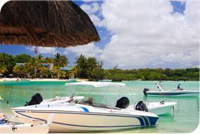 Mauritius boats at tropical