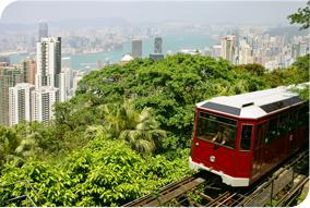 Tourist tram at Hong Kong